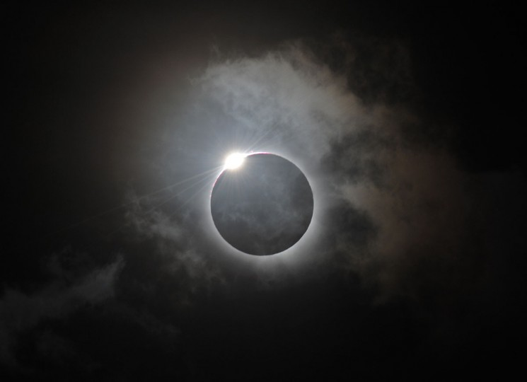 The Diamond Ring effect is shown following totality of the solar eclipse at Palm Cove in Australia's Tropical North Queensland on November 14, 2012. (Greg Wood/AFP/Getty Images