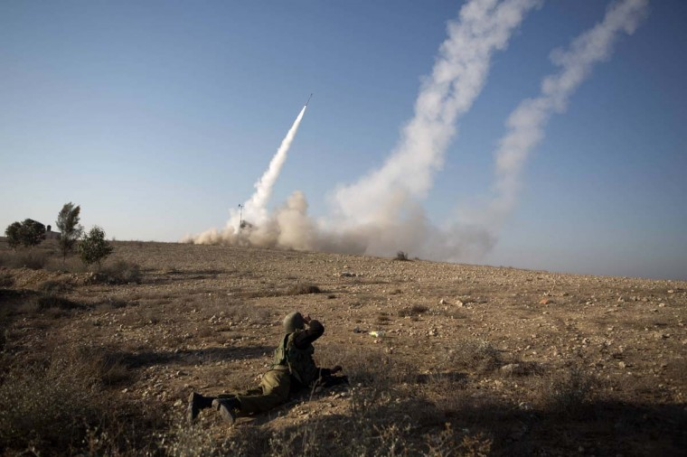 NOVEMBER 15 — An Israeli missile is launched from the Iron Dome missile system in the southern Israeli city of Beer Sheva in response to a rocket launch from the nearby Palestinian Gaza Strip, on November 15, 2012. (Menahem Kahana/AFP/Getty Images)