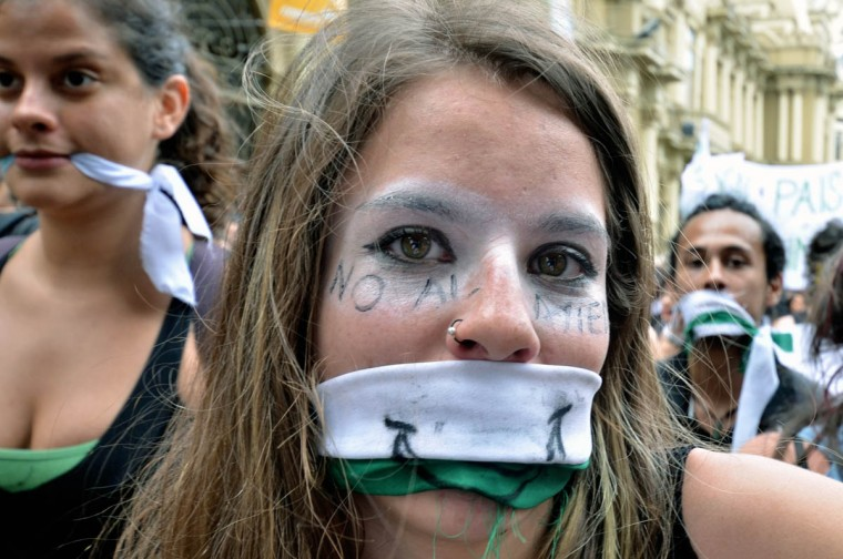 A woman takes part in a demonstration demanding measures to save the social security system in San Jose. At least 6.000 people took part in the protest on Thursday. (Ezequiel Becerra/AFP/Getty Images)