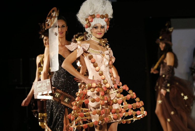 A model presents a dress made of chocolate and macaroons on November 22, 2012 in Cannes, Southeastern France, during a fashion show for the inauguration of Cannes international chocolate fair. The event runs until November 25, 2012. (Valery Hache/AFP/Getty Images)