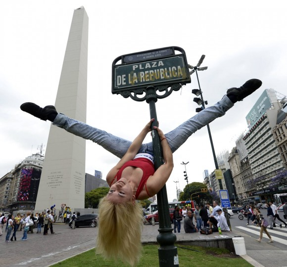 A Paraguayan participant in the Pole Dance South America 2012 competition performs at Republica square in downtown Buenos Aires on November 23, 2012 ahead of the contest to be held on November 24 and 26 in Buenos Aires. (Juan Mabromata/AFP/Getty Images)