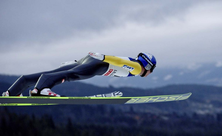 Austria's Thomas Morgenstern competes during the FIS Ski Jumping World Cup in Lillehammer, Norway on November 25, 2012. Morgenstern places third. (Stian Lysberg Solum/AFP/Getty Images)