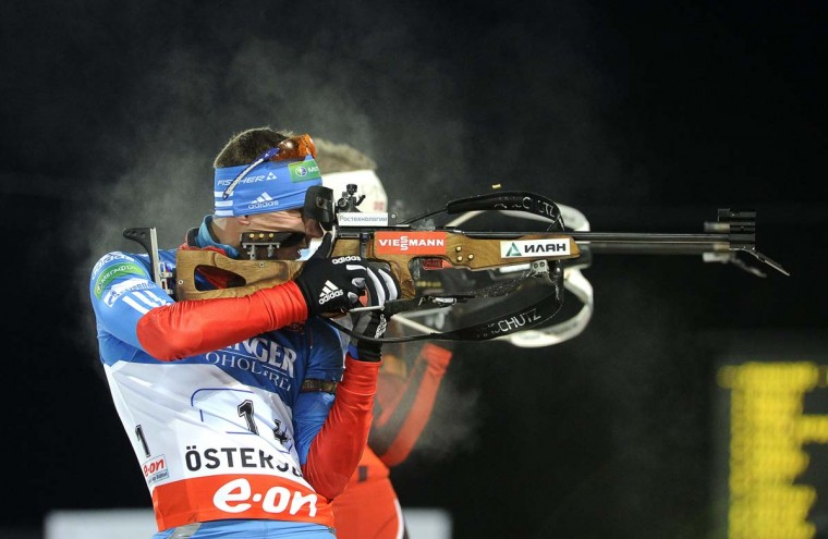 Russia's Evgeny Ustyugov competes during the mixed relay competition at the Biathlon World Cup in Oestersund, Sweden on November 25, 2012.(Anders Wiklund/AFP/Getty Images)
