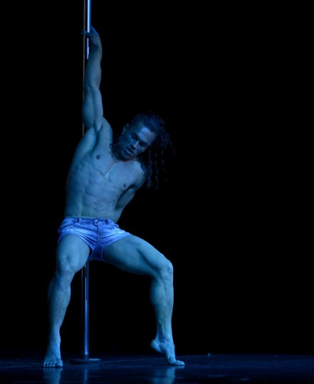 Brazilian pole dancer Carlos Franca competes to win the Mr Pole Dance South America 2012 competition in Buenos Aires on November 26, 2012. (Juan Mabromata/AFP/Getty Images)