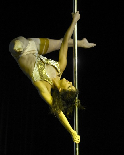 Peruvian pole dancer Elizabeth Munos competes in the Miss Pole Dance South America 2012 in Buenos Aires on November 26, 2012. (Juan Mabromata/AFP/Getty Images)