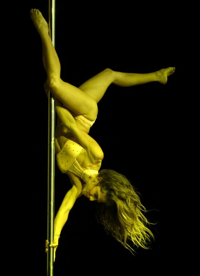 Chilean pole dancer Francisca Murillo competes in the Miss Pole Dance South America 2012 in Buenos Aires on November 26, 2012. (Juan Mabromata/AFP/Getty Images)