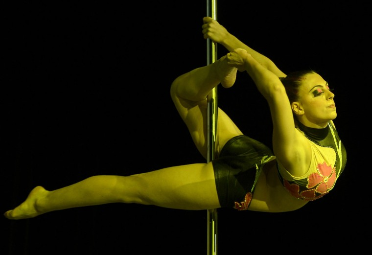 Brazilian pole dancer Alessandra Ranca competes in the Miss Pole Dance South America 2012 in Buenos Aires on November 26, 2012. (Juan Mabromata/AFP/Getty Images)
