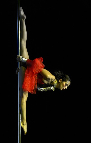 Peruvian pole dancer Ximena Ribero competes to finish in third place in the Miss Pole Dance South America 2012 competition as well as win the Best Artistic Performance trophy in Buenos Aires on November 26, 2012. (Juan Mabromata/AFP/Getty Images)