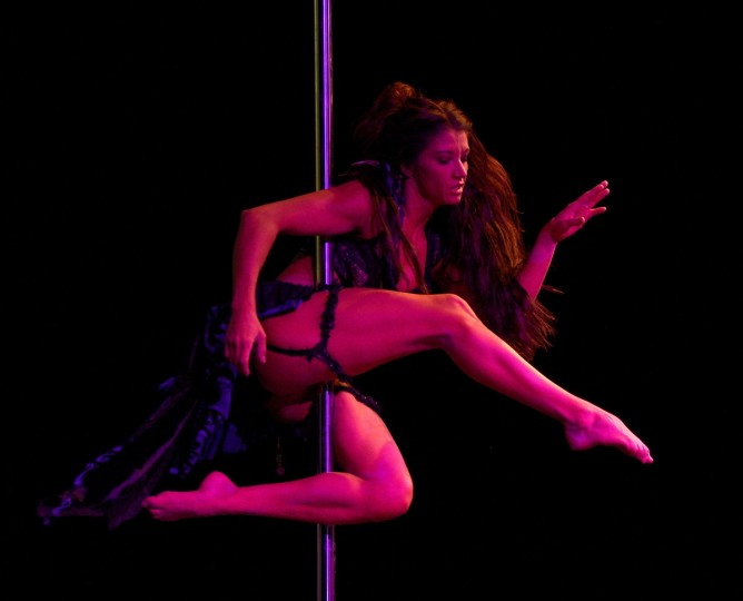 Pole dancer Zoraya Judd of the US, a member of the jury of the Miss Pole Dance Argentina and South America 2012 competition, performs before the awards ceremony in Buenos Aires on November 26, 2012. (Juan Mabromata/AFP/Getty Images)