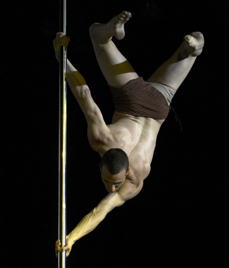 Argentine pole dancer Valentino Dezzotti competes in the Pole Dance South America 2012 competition in Buenos Aires on November 26, 2012. (Juan Mabromata/AFP/Getty Images)