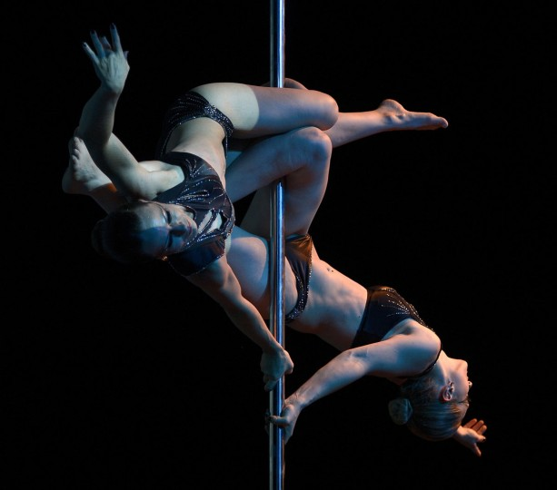 Brazilian pole dancers Karen Horbus and Soeli Coradassi compete to finish in second place in the Pole Dance South America 2012 competition in Buenos Aires on November 26, 2012. (Juan Mabromata/AFP/Getty Images)