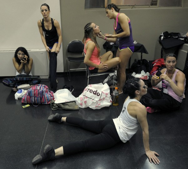 Argentine pole dancers get ready backstage during the Miss Pole Dance Argentina and South America 2012 competition in Buenos Aires on November 26, 2012. (Juan Mabromata/AFP/Getty Images)