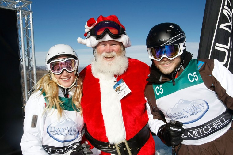 Actress Heidi Montag (left), Santa Claus and Spencer Pratt (right) participate in Juma Entertainment's 17th Annual Deer Valley Celebrity Skifest presented by Paul Mitchell and benefitting Robert F. Kennedy's Waterkeeper Alliance at the Empire Canyon Lodge on December 7, 2008 in Deer Valley, Utah. (Michael Buckner/Getty Images)