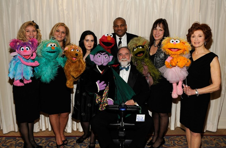 Sesame Street puppeteers Leslie Carrara-Rudolph, Carmen Osbahr, Stephanie D'Abruzzo, Kevin Clash, Jerry Nelson, Pam Arciero and Fran Brill attend the 2010 AFTRA Awards with their Muppet companions. (Larry Busacca/Getty Images for AFTRA)