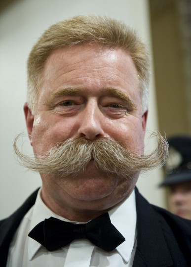 Wolfgang Schneider of Germany poses after winnning first place of the Moustach Natural category during The Beards and Moustaches World Championship 2011 in the northern city of Trondheim on May 15, 2011. (Jonathan Nackstrand/AFP/Getty Images)