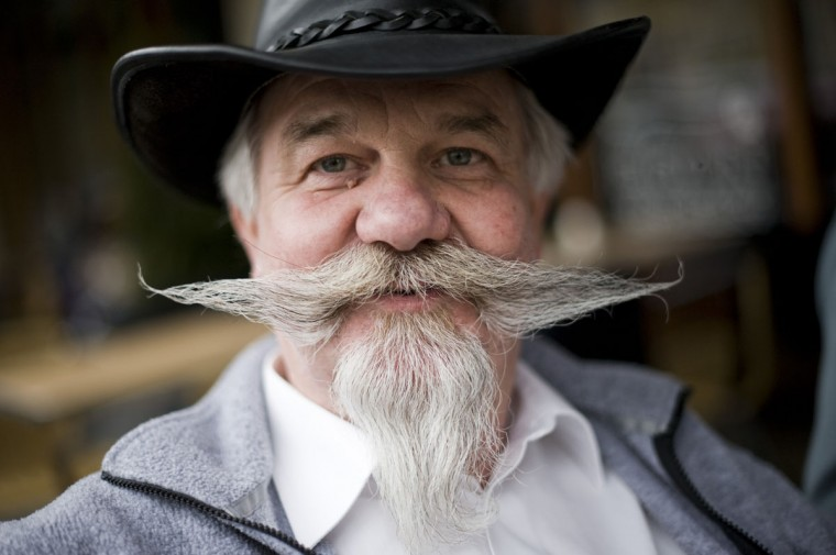 A Swiss participant poses in the northern city of Trondheim in Norway on May 14, 2011 ahead of the Beards and Moustaches World Championship 2011 held in the city on May 15. (Jonathan Nackstrand/AFP/Getty Images)