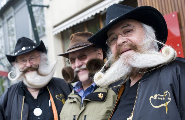 (L-R) Germany's Gerhard Knapp, Dieter Besuch and Peter Weiss pose as they gather at the northern city of Trondheim in Norway on May 14, 2011 ahead of the Beards and Moustaches World Championship 2011 held in the city on May 15. (Jonathan Nackstrand/AFP/Getty Images)
