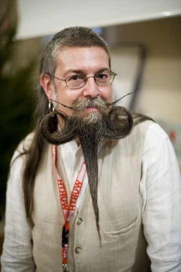 A participant competes in the Beards and Moustaches World Championship 2011 in the northern city of Trondheim on May 15, 2011. (Jonathan Nackstrand/AFP/Getty Images)
