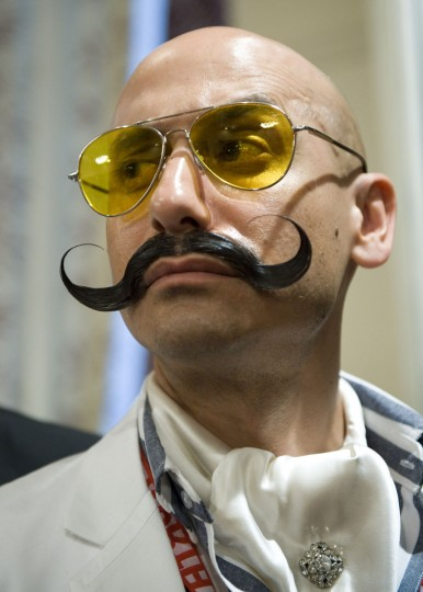 Johan Dominic of the US poses after winning the Moustach Imperial category during The Beards and Moustaches World Championship 2011 in the northern city of Trondheim on May 15, 2011. (Jonathan Nackstrand/AFP/Getty Images)