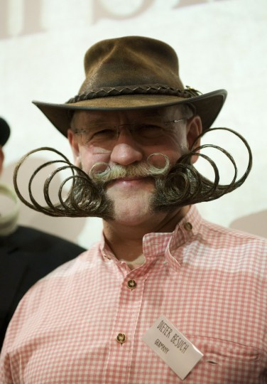 Dieter Besuch of Germany poses after winning the Partial Beard Freestyle category during The Beards and Moustaches World Championship 2011 in the northern city of Trondheim on May 15, 2011. (Jonathan Nackstrand/AFP/Getty Images)