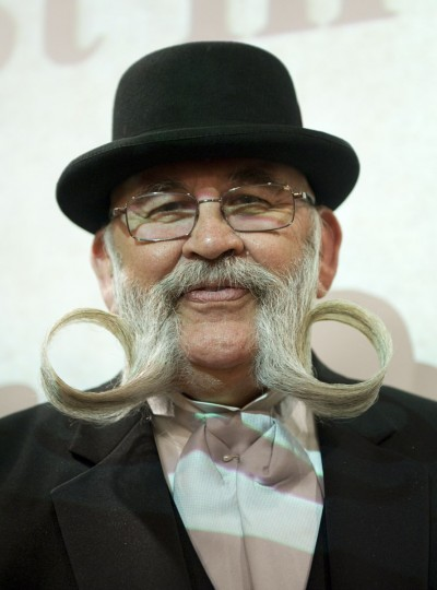 Bill Mitchell of the US poses after winning the Sideburns Freestyle category during The Beards and Moustaches World Championship 2011 in the northern city of Trondheim on May 15, 2011. (Jonathan Nackstrand/AFP/Getty Images)
