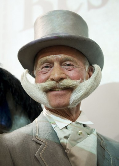 Karl-Heinze Hille of Germany poses after winning first place in the Imperial Partial Beards category during The Beards and Moustaches World Championship 2011 in the northern city of Trondheim on May 15, 2011. (Jonathan Nackstrand/AFP/Getty Images)