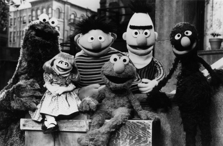 "Children's television program ""Sesame Street"" celebrated 25 years of a ""Sunny Day"" in 1994 and introduced several new characters. Returning familiar faces at the time included, from left, Cookie Monster. Prairie Dawn, Ernie, Elmo, Bert, and Grover. (Richard Termine/Handout photo)"