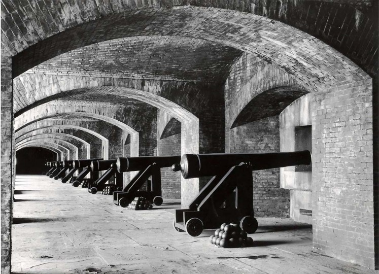 The guns of Fort Carroll which are replicas of the guns used at the fortress when it was built. They were built at a foundry that was expressly made to forge the guns. Photo dated 10/04/1961. (Robert F. Kniesche/Baltimore Sun)