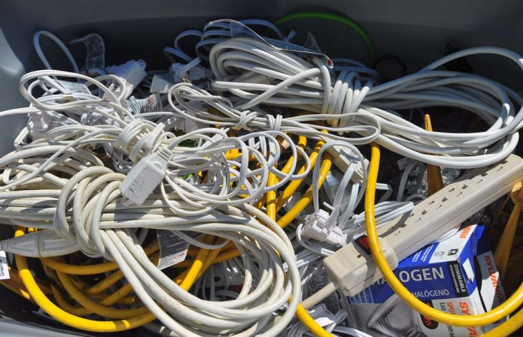 "One of several bins of extension cords used by ""The King of Christmas"" company while decorating a Timonium home. (Gene Sweeney Jr./Baltimore Sun)"