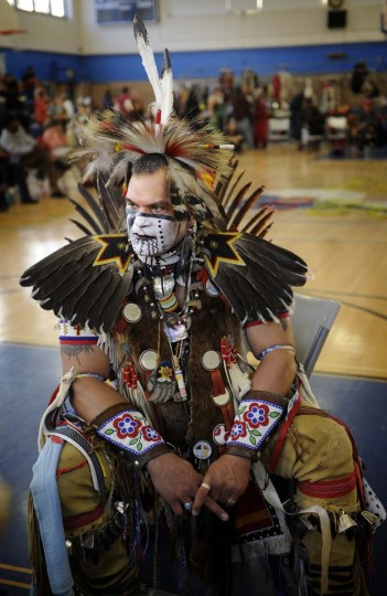 Keith Anderson of Portsmouth VA, a Catawba Cherokee, takes a break at the 38th annual Baltimore American Indian Center. (Barbara Haddock Taylor/Baltimore Sun)