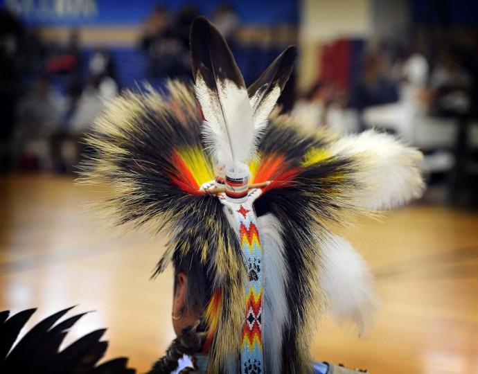 A male dance performer wears an elaborate headdress at the 38th annual Baltimore American Indian Center Powwow. (Barbara Haddock Taylor/Baltimore Sun)