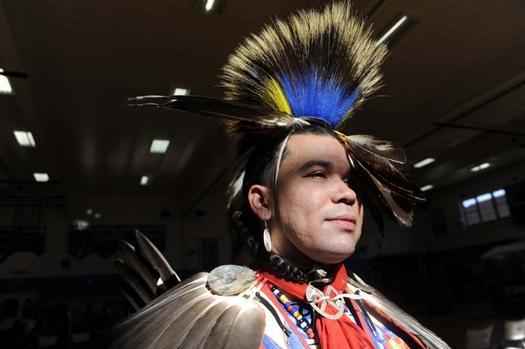 William Charles Warwick Jr. of the Lumbee-Cheraw Tribe, attends the 38th annual American Indian Center Pow Wow. He is dressed in northern mens' traditional dance regalia. (Barbara Haddock Taylor/Baltimore Sun)