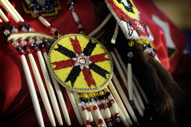 Beadwork made and worn by Phyllis Campbell, a member of the Choctaw Nation from Blacksburg, VA. (Barbara Haddock Taylor/ Baltimore Sun)