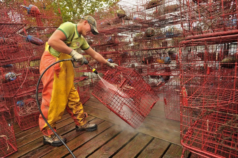 Dave Chiveral of Essex, a waterman, washes crab pots belonging to waterman Harry Foote III on a pier on Armstrong Creek after they pulled the pots up in preparation for Hurricane Sandy. The pots and floats get hosed down, and then repainted before the next season. (Amy Davis/Baltimore Sun)