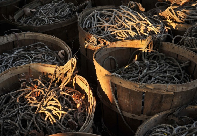 Lines for crabbing are coiled and stored in baskets over the winter. (Amy Davis/Baltimore Sun)