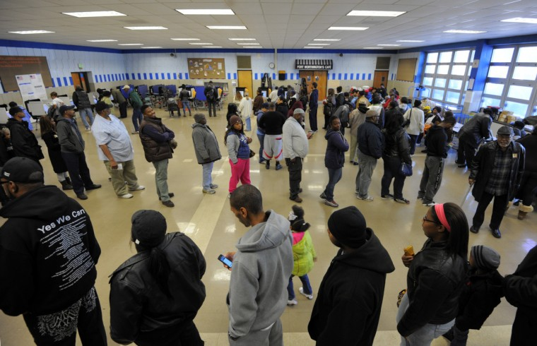 Voters line up to vote in the presidential election at Ft. Worthington Elementary School. (Algerina Perna/Baltimore Sun)