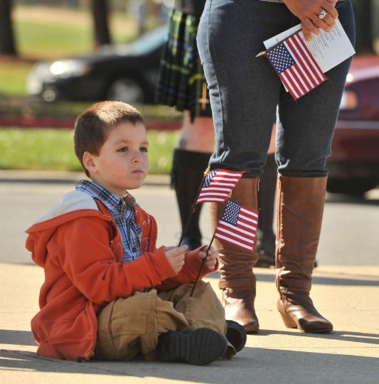 Rylan Woffinden, 4, of Annapolis came with his family to the Veterans Day ceremony held at the Crownsville Veterans Cemetery. (Amy Davis/Baltimore Sun)