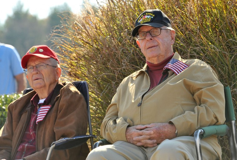 Douglas J. Cook, left, of Annapolis, and George H. Ruggles, both veterans of Korea and Vietnam, listen to the Veterans Day ceremony held at the Crownsville Veterans Cemetery. Amy Davis/Baltimore Sun)