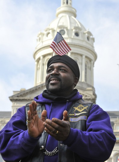Mike Turpin of Waldorf attended the Veterans Parade.Mayor Stephanie Rawlings-Blake led a march of dignitaries, veterans, and military personnel down Charles Street from the Washington Monument (Charles & Centre Streets) to the ceremonial stage at the War Memorial Plaza. (Lloyd Fox/Baltimore Sun)