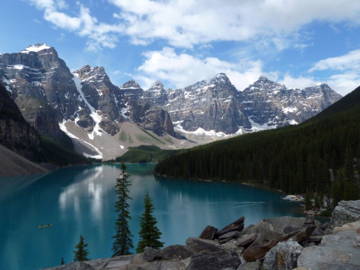 "The winner of this week's Reader SunShots series ""Peaks and Valleys"" is Gerald Hammond for his picture Of Moraine Lake at Banff National Park in Canada. The picture was taken with a Panasonic ultrazoom point and shoot camera. Here is a critique by director of photography Robert Hamilton. ""This is just a gorgeous photo. It looks like a travel poster for Canada. The photographer said that on his original visit the weather was rainy, but came back another day when the weather was better to get this image. I commend him for his initiative, in the end he got a beautiful picture."""