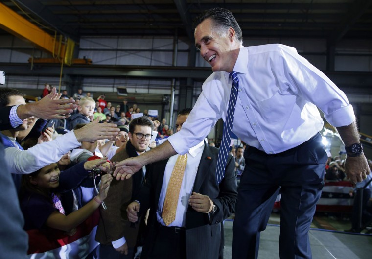 Republican presidential nominee Mitt Romney greets audience members at a campaign rally in Etna, Ohio. (Bryian Snyder/Reuters)