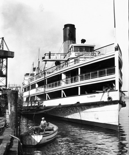 Once, it didn't seem like summer without a day trip aboard the Tolchester. The excursion steamer awaits annual repairs at the Maryland Shipbuilding and Drydock Co. before the 1938 season. (Baltimore Sun)