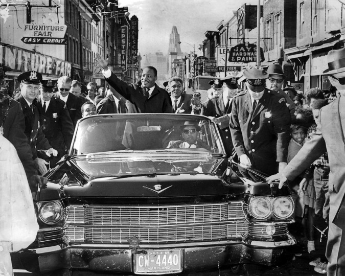 Thousands turned out on Gay Street to see the Rev. Martin Luther King Jr. during a get-out-the-vote campaign in October 1964, when he was announced as Nobel Peace Prize laureate. (Paul M. Hutchins/Baltimore Sun)