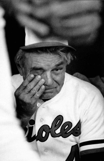 A tearful Earl Weaver, headed into retirement, ponders the last regular-season game against the Brewers in 1982. He would return as Orioles manager for the 1985 and 1986 seasons and enter the Hall of Fame in 1996. (Bill Hotz/Baltimore Sun)