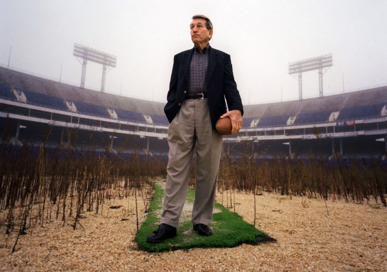 In 1999, Johnny Unitas visited Memorial Stadium, where he played for the Colts from 1956 to 1972. The stadium was razed from 2001 to 2002. A heart attack felled Unitas in September 2002. (Algerina Perna/Baltimore Sun)