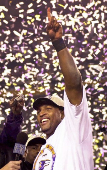 Linebacker Ray Lewis celebrates the Ravens' 34-7 win over the New York Giants in Super Bowl XXXV on January 28, 2001. The leader of the defense was the game's Most Valuable Player. (Gene Sweeney Jr./Baltimore Sun)