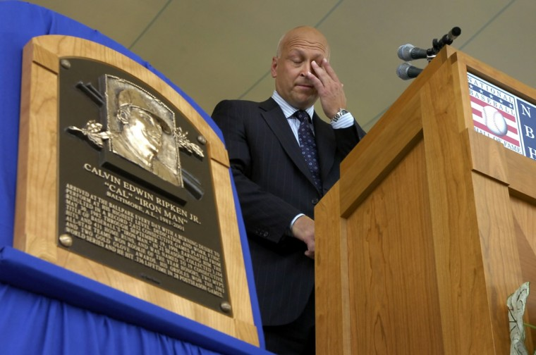 Aberdeen native Cal Ripken Jr. sheds tears as he talks of his family during his Hall of Fame induction in Cooperstown, N.Y., in 2007. The Ironman played in 2,632 straight games for the Baltimore Orioles. (Lloyd Fox/Baltimore Sun)