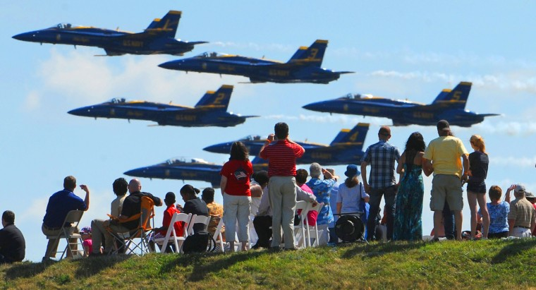 The Navy's precision Blue Angels fly low over Fort McHenry in June 2012 during Baltimore's Star-Spangled Sailabration marking the bicentennial of the War of 1812. (Jerry Jackson/Baltimore Sun)