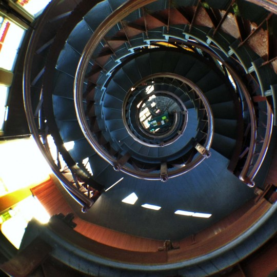 The Patterson Park Pagoda is closed for the season, but when it opens up again I highly recommend checking it out. One of the better views of Baltimore. This was taken looking down the spiral staircase with the Olloclip fisheye attachment. (Credit: Josh Flynn)