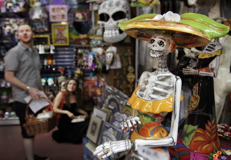 Items for Mexico's traditional Day of the Dead are for sale in Olverita's Village in Olvera Street in Los Angeles, California. (Lawrence K. Ho/Los Angeles)